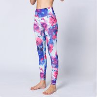 Printed Workout Leggings Women's Blue&Red Pants