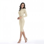 Women's Apricot Long Bodycon Dress With Belt Long Sleeve Knit Dresses [20180814-4]