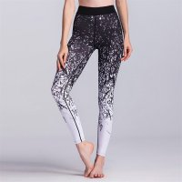Women's Yoga Pants Floral Black High Waisted Tights Gym Workout Leggings