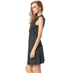 Women's Wrap Dress Black V-Neck Sleeveless Mini Dresses [20180602-3]