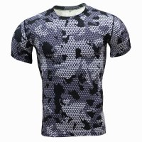 Men's Workout Shirt Grey Camo Running Top