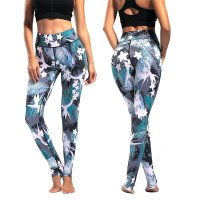 Women's Yoga Pants Floral Cyan High Waisted Tights Gym Workout Leggings