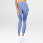 Women's Yoga Leggings Mesh Blue Workout Pants Running Tights