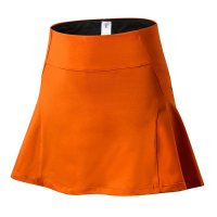 Women's Orange Tennis Skirt With Shorts And Phone Pocket