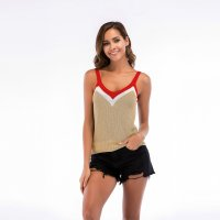 Women's Camisole Tops V-neck Sexy Khaki Knitting Vest