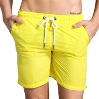 Men's Athletic Shorts With Pockets Liner Yellow Running Beach Gym Workout Shorts