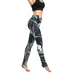 Women's Yoga Pants Floral Green High Waisted Tights Gym Workout Leggings [20181012-7]