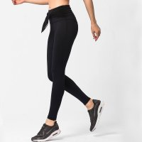 Women's Yoga Leggings With Tie Waist Black High Waisted Pants