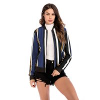 Women's Baseball Bomber Jacket Navy Vertical Striped Zip Up Outfit