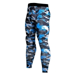 Men's Compression Pants Blue Camo Fitness Tights [20190617-15]