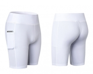Women's Yoga Shorts With Side Pockets White Athletic Running Leggings [20181005-1]