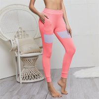 Women's Yoga Pants With Pockets Pink Mesh Athletic Leggings
