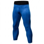 Men's Workout Pants Tights Gym Blue Compression Capri Pants Sports Leggings