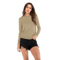 Women's Crew Neck Long Sleeve Tops Knit Khaki Casual Shirt