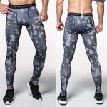 Men's Compression Pants For Running Grey Camo Gym Leggings
