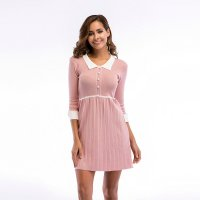 Women's Party Dress Half Sleeve Slim Fit Turnover Collar Knitting Pink Skirt