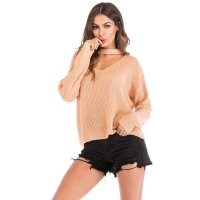 Women's Peach Long Sleeve Knit Tops V Neck Loose Shirt