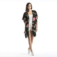 Women's Blouse Kimono Black Chiffon Red Flowers Print Long Shirt