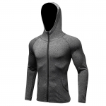 Men's Running Hoodie Full-Zip Grey Training Jackets Athletic Sports Outwear