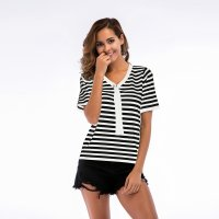 Women's Summer Shirt Loose V-neck White Stripes Knitwear Top