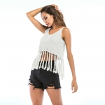 Women's Tank Top Fringe White Hollow Out Knitted Vest
