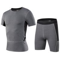 Men's Gym Clothes Grey Fitness Apparel Workout Kits