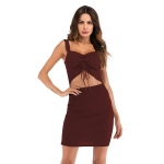Women's Claret Bodycon Dresses Midriff-Baring Knit Sexy Cut-Out Skirt