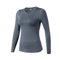 Women's Yoga Shirts Long Sleeve Gym Grey Quick Dry Workout Tops
