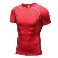 Men's Gym Tops Red Fited Compression Wear Quick Dry Workout Shirts