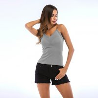 Women's Camisole Tank Tops Metal Sling Grey Knitted Vest