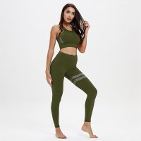 Women's Yoga Sets Green Workout Clothes Quick Dry Fitness Wear