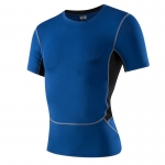 Men's Athletic Fit T-Shirts Muscle Fit Shirt Blue Running Gym Workout Tops