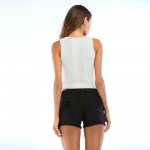 Women's Tank Tops Bare-midriff Thin White Knitwear Vest [20180424-1]