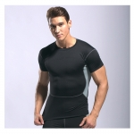 Men's Athletic Fit T-Shirts Muscle Fit Shirt Black Running Gym Workout Tops