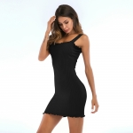 Women's Summer Bodycon Dresses Slim-Fitting Knitwear Black Lady Dress
