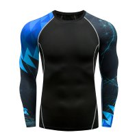 Men's Fitness Top Long Sleeve Black&Blue Athletic Shirts