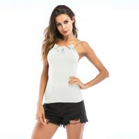 Women's Camisole White Backless Bow Tie Tank Top