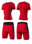 Men's Gym Clothes Red Fitness Apparel Workout Kits [20181210-4]