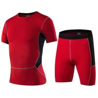 Men's Gym Clothes Red Fitness Apparel Workout Kits