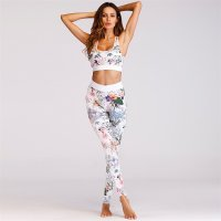 Women's Floral Workout Clothes White Gym Sets Yoga Suits