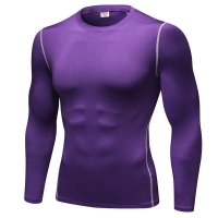 Men's Workout Tops Purple Long Sleeve Bodybuilding Fitness Gym Shirts