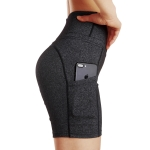 Women's Yoga Shorts With Pockets For Phone Dark Grey Workout High Waist Leggings [20180905-2]