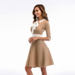 Women's Party Dress Half Sleeve Slim Fit Bow Tie Knitting Khaki Skirt [20180409-1]