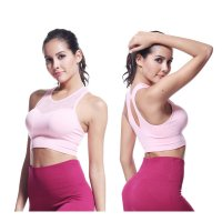 Women's Yoga Bras Tank Wireless Pink Quick Dry Seamless Sports Bra