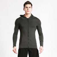Running Hooded Jacket Grey Men's Full Zip Gym Top