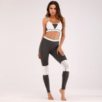 Women's Training Outfits Grey Workout Tights Padded Sports Bra