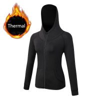 Women's Running Hoodie Yoga Outwear Thermal Black Workout Jackets