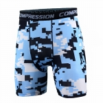 Men's Compression Shorts Blue Pixel Pattern Sports Leggings