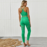 Seamless Women's Yoga Crop Tank Top Green And Leggings Outfit [20191107-3]