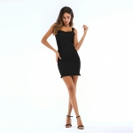 Women's Summer Bodycon Dresses Slim-Fitting Knitwear Black Lady Dress [20180428-3]